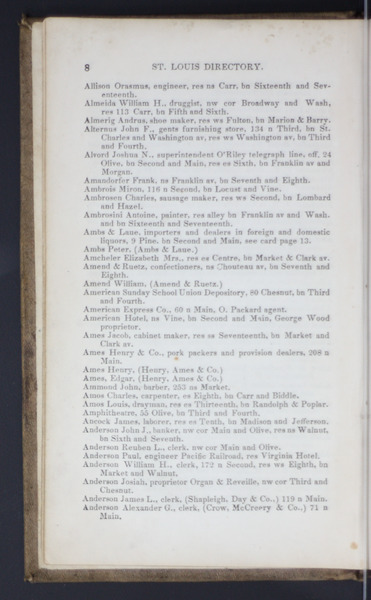 1852 City Directory